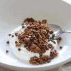 chocolate peanut butter granola with yogurt