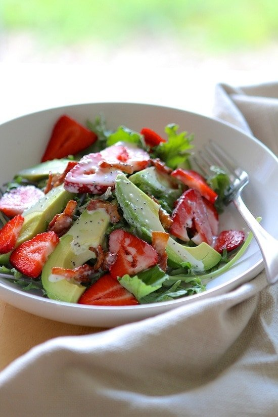 Strawberry Avocado Kale Salad with Bacon Poppyseed Dressing from www.laurenslatest.com