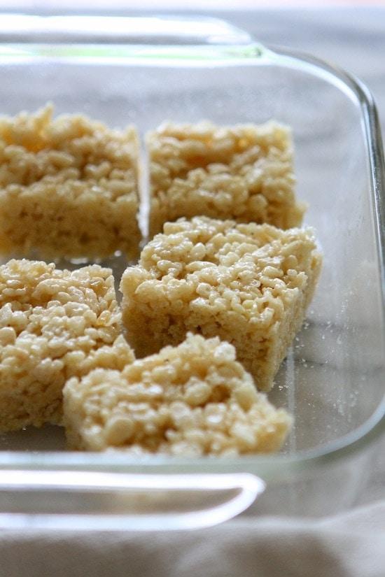 lemon rice krispie treats in a glass baking pan