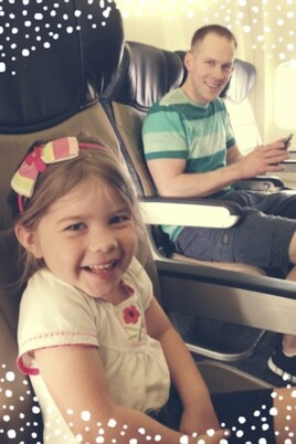 Gordon and Brooke in a plane