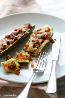 Sausage and Peppers Stuffed Zucchini Boats