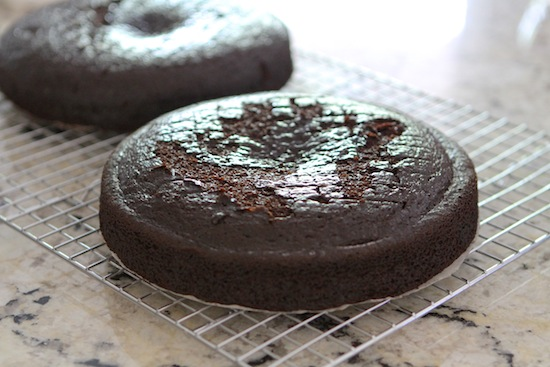 vegan chocolate cake on cooling racks
