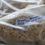 brown rice in a freezer bag