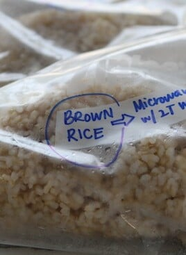 brown rice in a freezer bag
