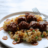 asian bbq turkey meatballs with zucchini fried rice
