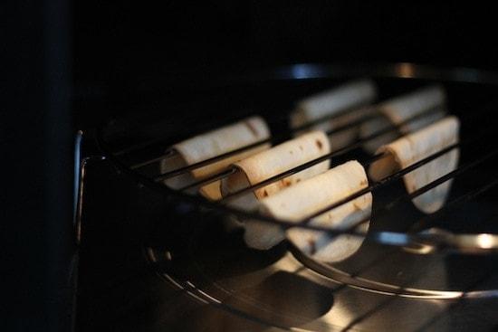 toasting tortilla shells