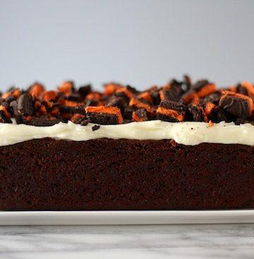 Halloween Oreo White Chocolate Brownie Loaf