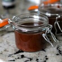 dark chocolate peppermint hot fudge in jars