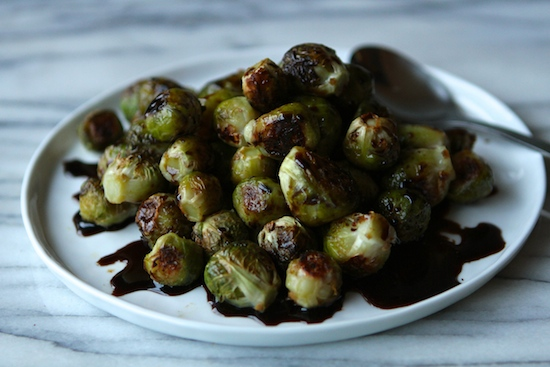 roasted brussel sprouts with sweet balsamic syrup