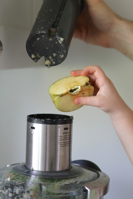 adding apple to juicer