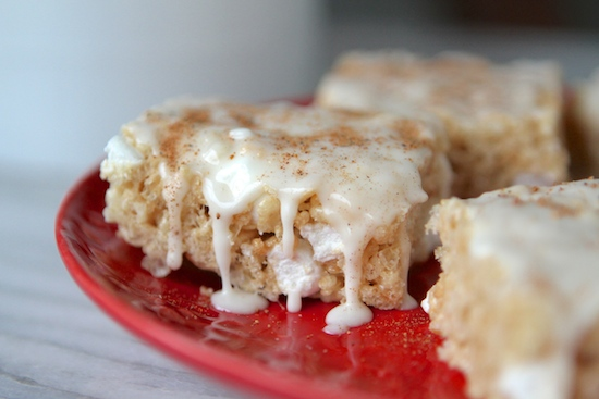 egg nog rice krispie treats