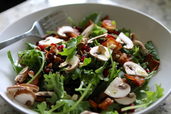 kale pomegranate and bacon salad with warm maple bacon dressing