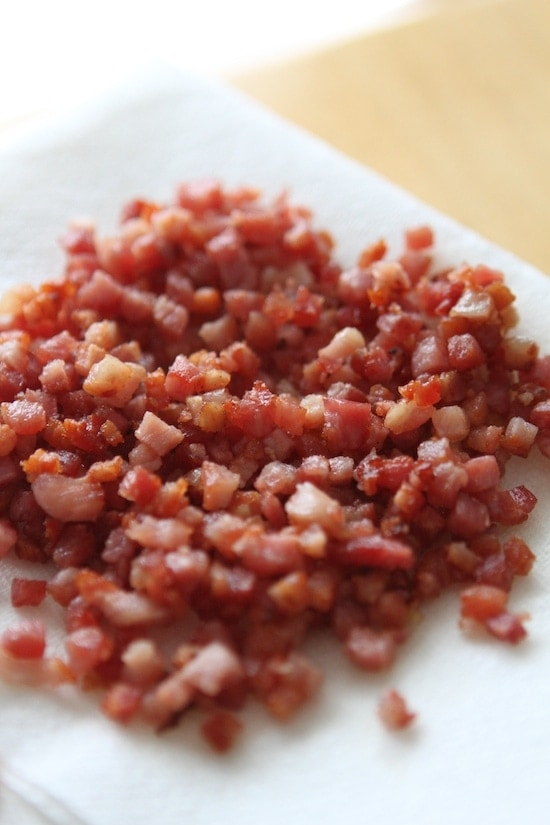 diced and cooked pancetta