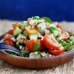 chopped farro and kale greek salad