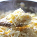 cauliflower cheese sauce with bowtie pasta