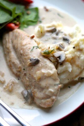 creamy parmesan chicken and mushrooms over mashed potatoes