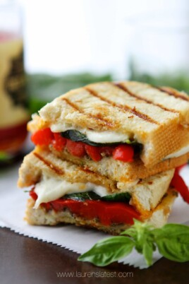 Roasted Red Pepper and Pesto Grilled Cheese Sandwich