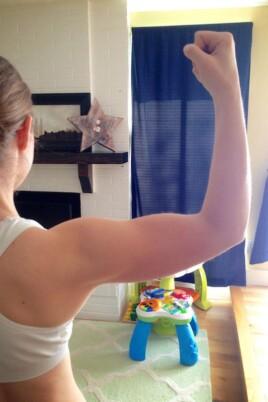 Lauren flexing her arm
