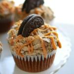 chocolate cupcake with peanut butter oreo frosting