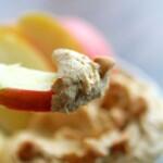peanut butter cookie dough dip on an apple