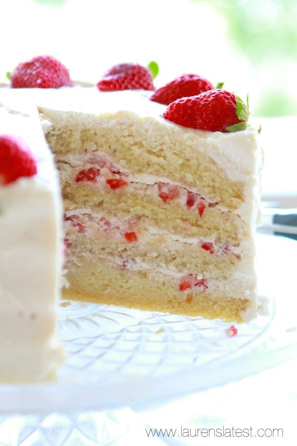 slice out of a strawberry cake