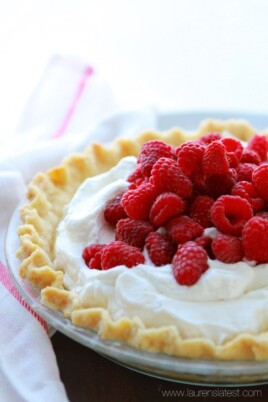Lemon Cream Pie with Fresh Raspberries