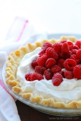 Lemon Cream Pie with Fresh Raspberries