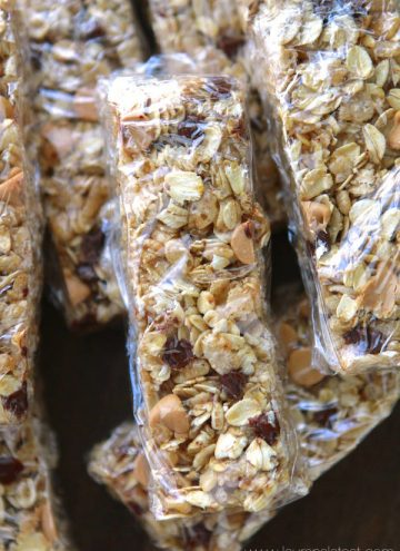 No-Bake Peanut Butter Chocolate Chip Granola Bars