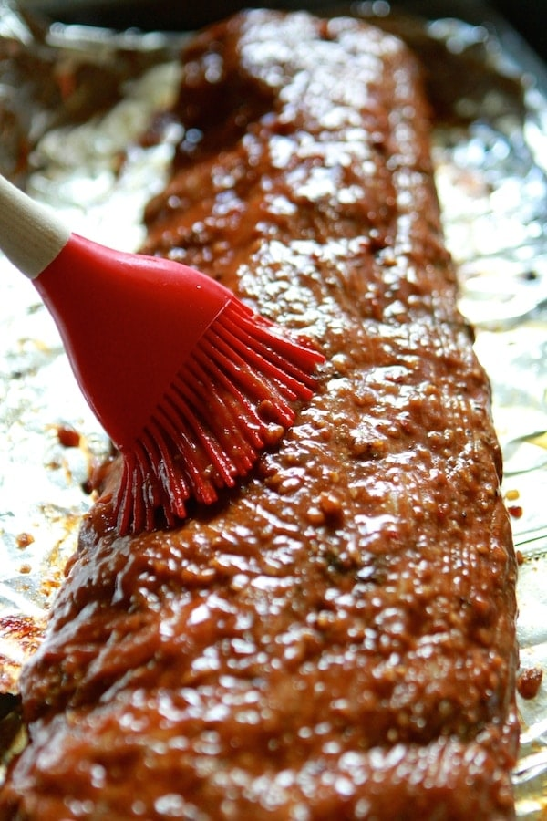 BBQ Sauce on Baked Ribs