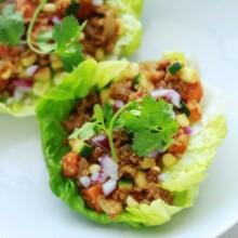 southwest sausage and quinoa lettuce wraps