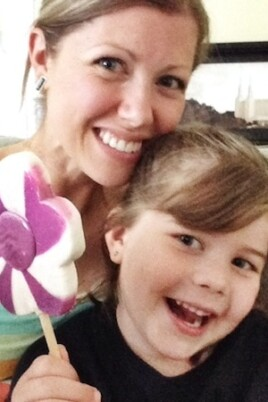 woman and little girl selfie