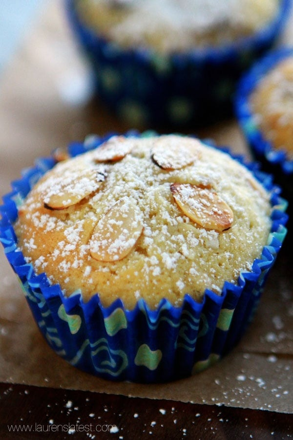 coconut muffin wrapped in blue muffin liner