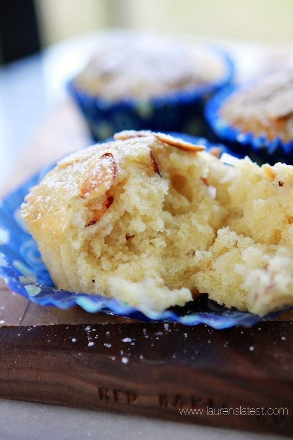 coconut muffin with a bite taken out of it