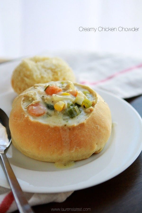 Chicken Corn Chowder in a bread bowl on a plate