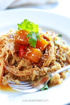 teriyaki chicken over quinoa pilaf