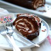slices of chocolate swiss roll cake