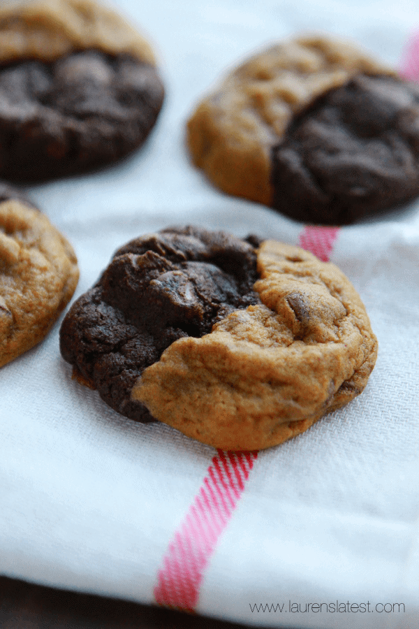 Double Chocolate Pumpkin Caramel Swirl Cookies from laurenslatest.com
