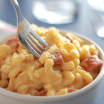 mac n cheese with turkey sausage in a bowl