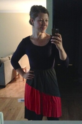 woman mirror selfie with dress on