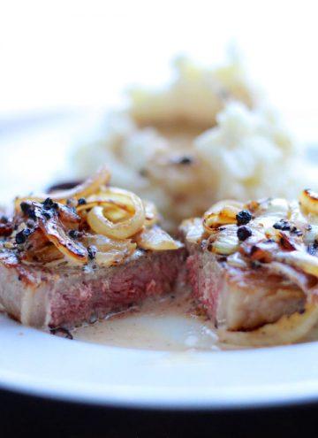 Cast Iron Steak with Bourbon Pepper Cream Sauce