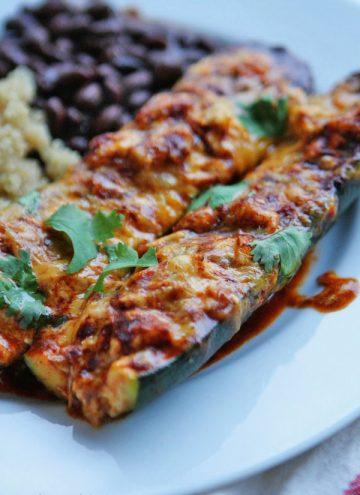 Cheesy Enchilada Stuffed Zucchini