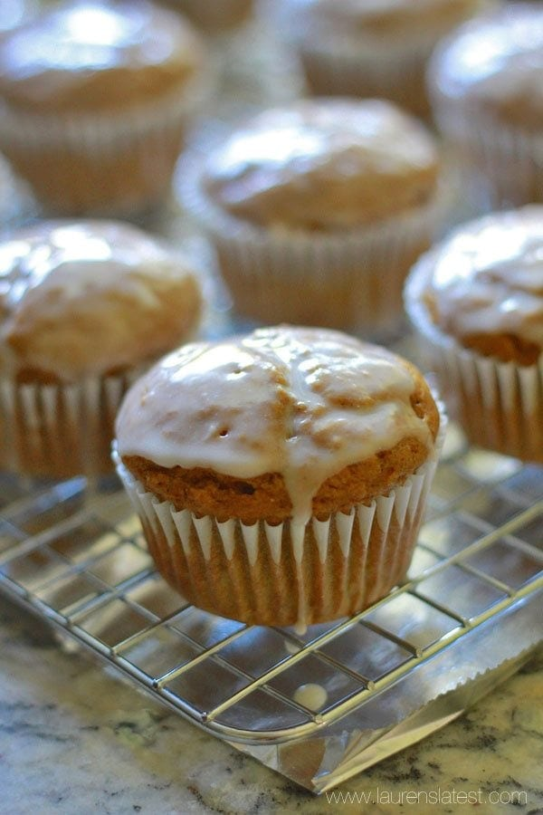 Pumpkin Bran Muffins on a cooling wrack