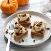 three pumpkin pie bars on white plate