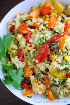 quinoa corn salad in a bowl