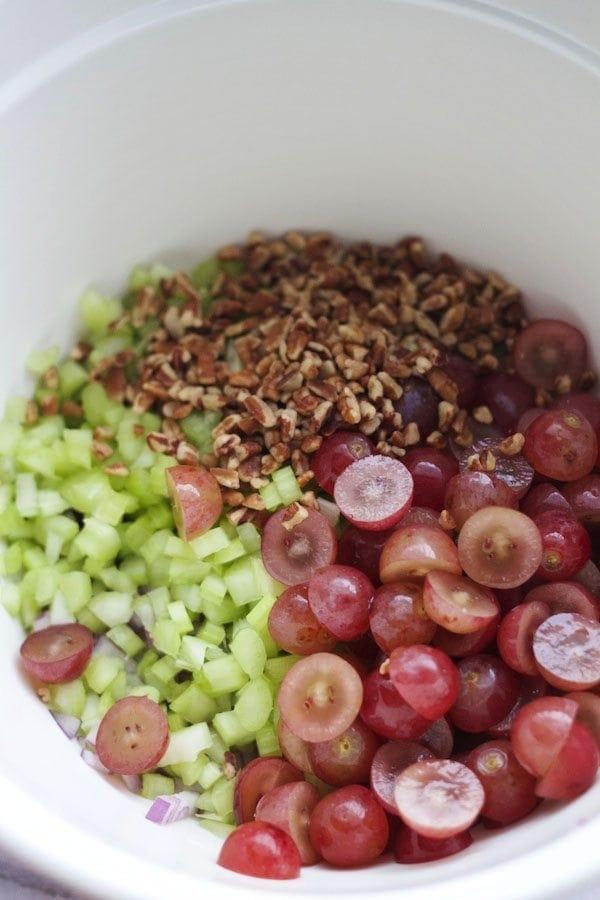 Chicken Pasta Salad Ingredients unmixed