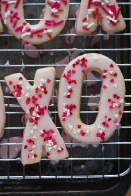 xo cookies with sprinkles