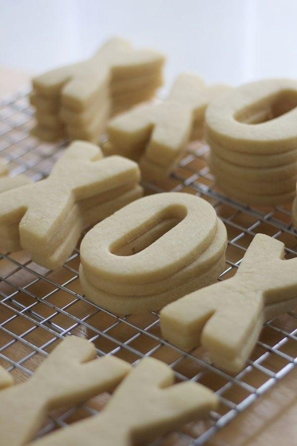 X O shaped sugar cookies