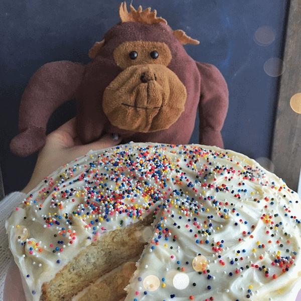 Monkey plushie with Banana Cake