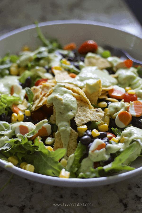 Charred Tomatillo Avocado Dressing and Salad