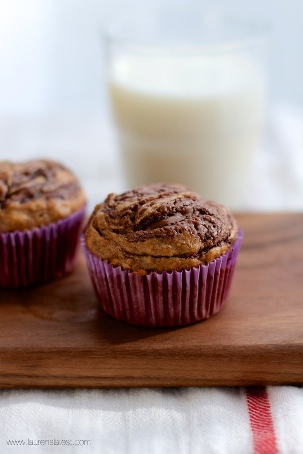 Chocolate Almond Butter Swirled Skinny Banana Muffins